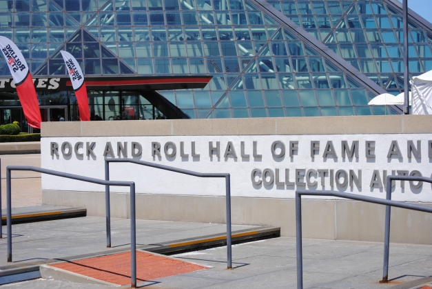 We stopped in quickly outside the Rock and Roll Hall of Fame (it was pretty expensive so we didn't go and opted to take pictures near Lake Erie instead!)