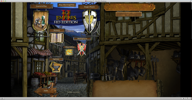 Since I don't have a PC, I ran the game through Parallels Desktop running Windows 7. I picked up both Age of Empires II and III from a Humble Bundle sale a few weeks ago and have been working on the VM setup ever since!